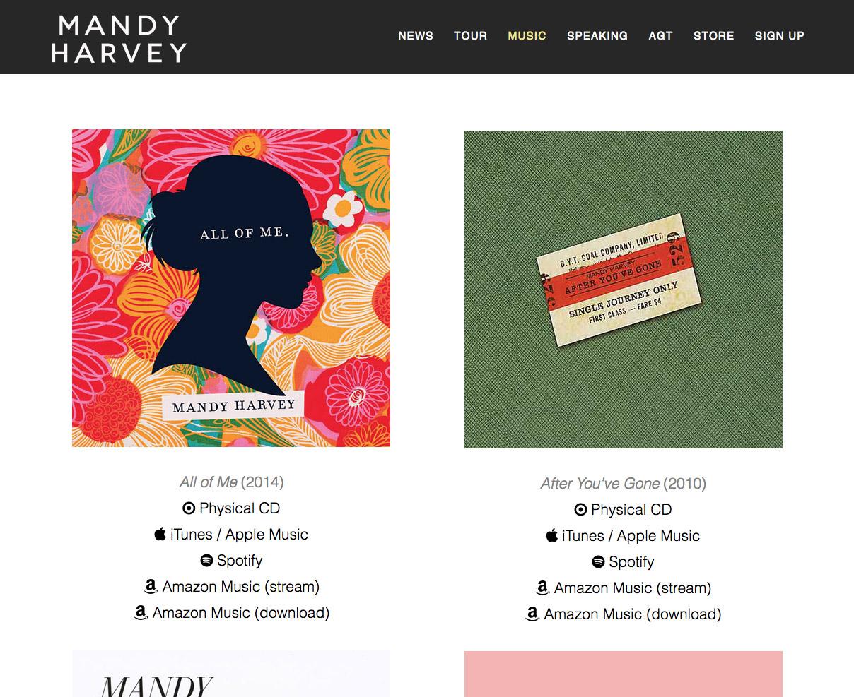 mandy harvey website screenshot of discography