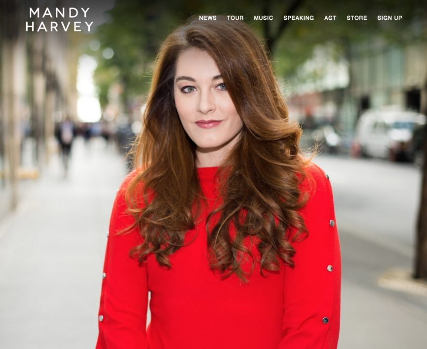 mandy harvey screenshot of website