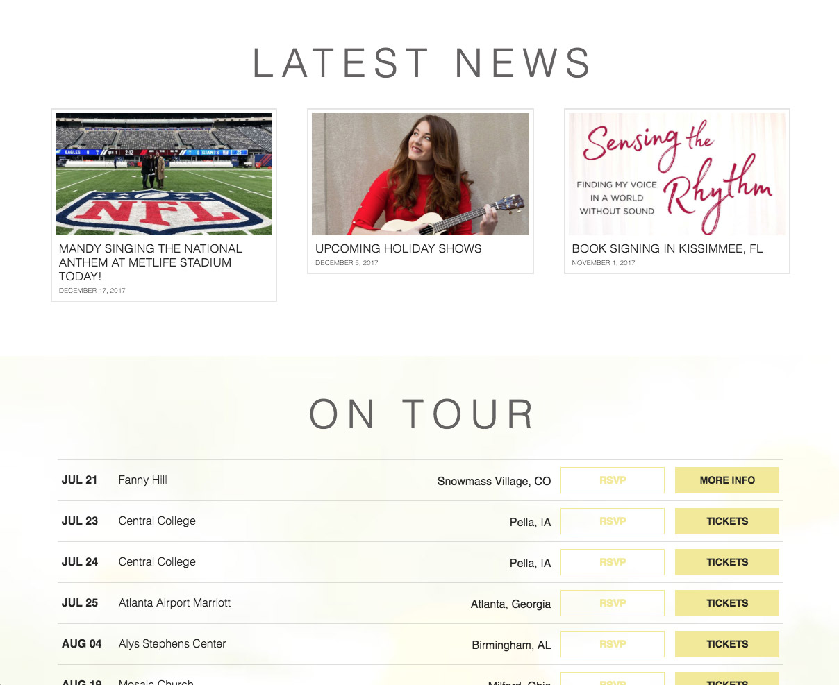 mandy harvey website screenshot of latest news and tour dates