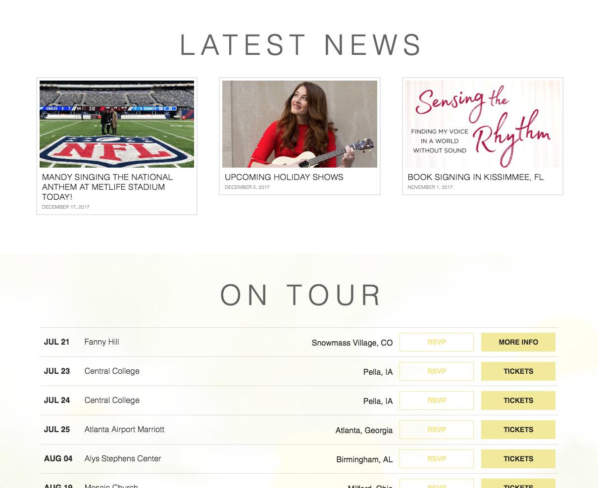 mandy harvey website screenshot of latest news and tour dates
