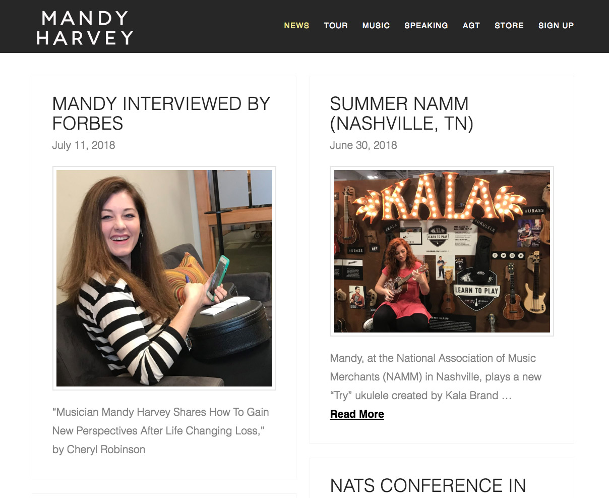 mandy harvey website screenshot of news