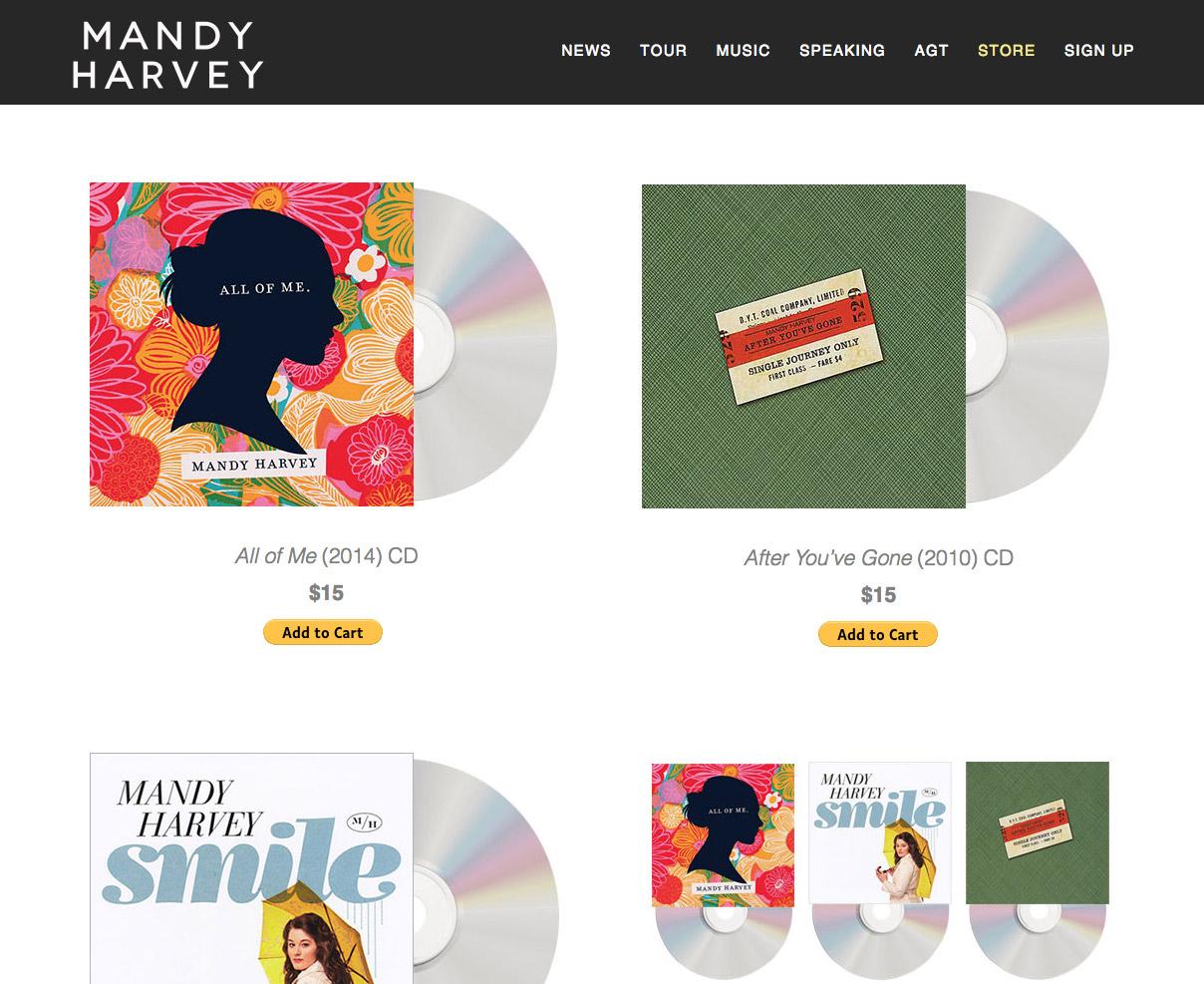 mandy harvey website screenshot of webstore