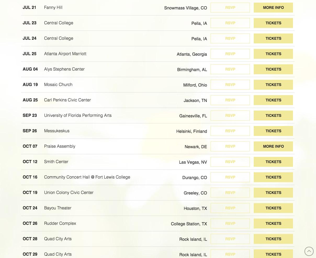 mandy harvey website screenshot of tour dates